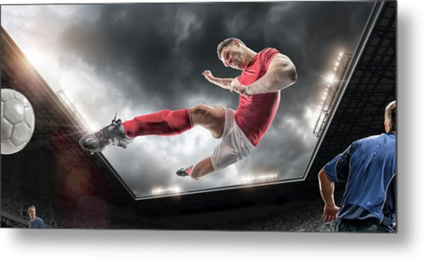 Soccer Kick Metal Print by Peepo