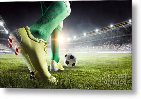 Soccer Player In Action. Mixed Media Metal Print