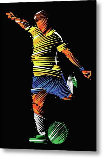 Soccer Player Running To Kick The Ball Metal Print