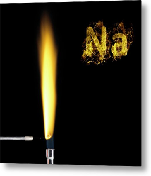 Sodium Flame Test Metal Print by Science Photo Library