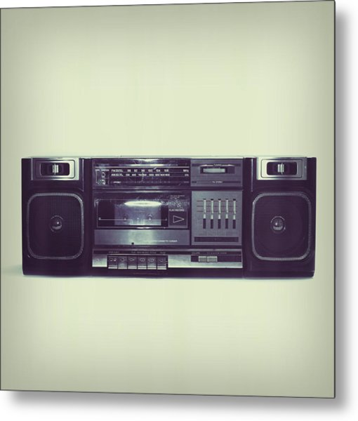 Soft Black Boombox Centered With White Metal Print