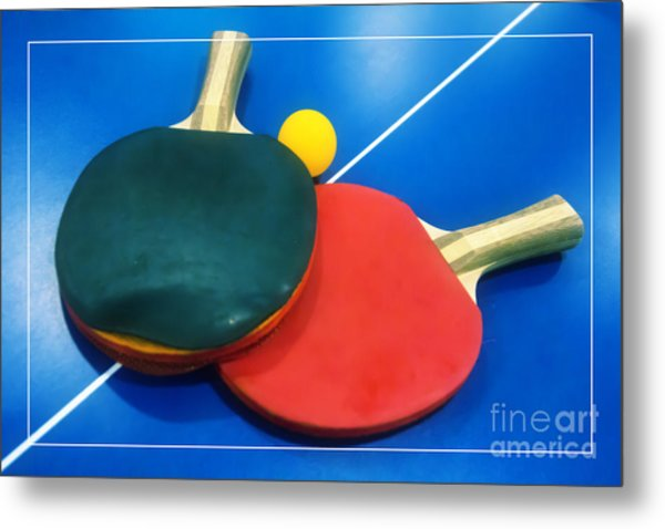 Soft Dreamy Ping-pong Bats Table Tennis Paddles Rackets On Blue Metal Print