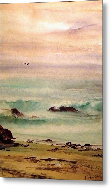 Soft Light Penguin Beach Metal Print by Evelyn Antonysen