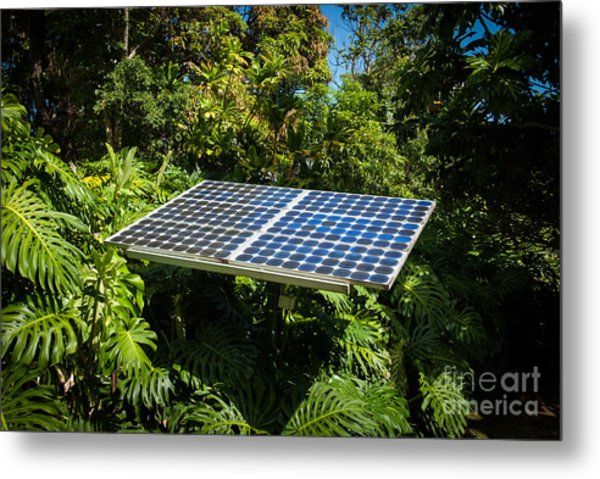 Solar Panel In Jungle Metal Print