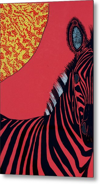 Solar Red Zebra Metal Print by Patrick OLeary