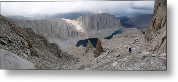 Solitary Hiker Panorama Metal Print