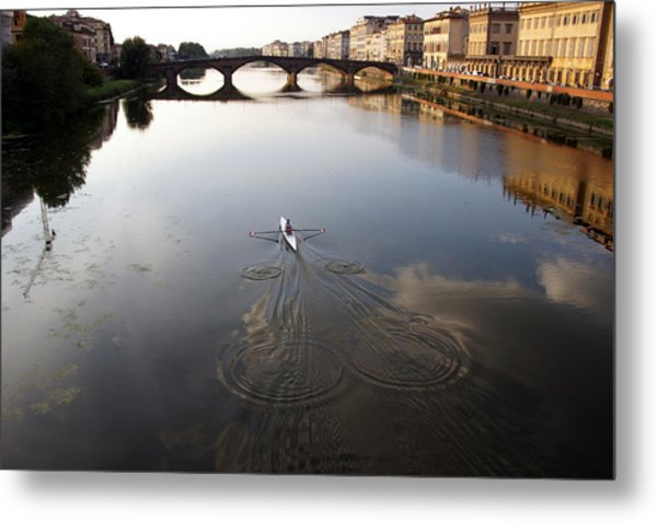 Solitary Sculler Metal Print