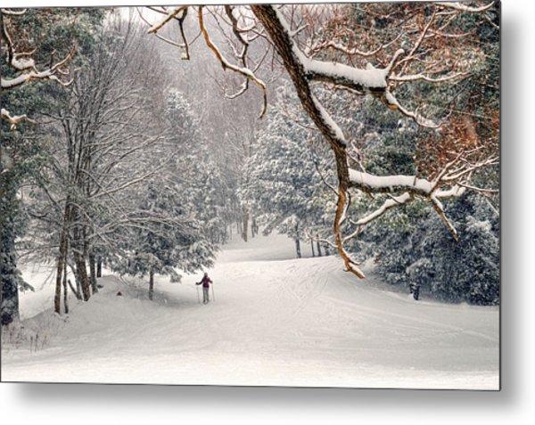 Solitary Skier At Otis Ridge Metal Print