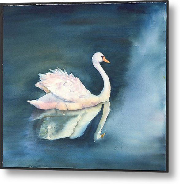 Solitary Swan Metal Print by Bonny Lundy