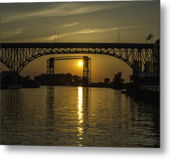 Solstice Sun Through Two Bridges Metal Print