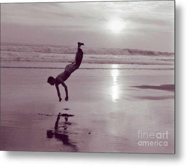 Somersalting On Bali Black Sand Beach Metal Print
