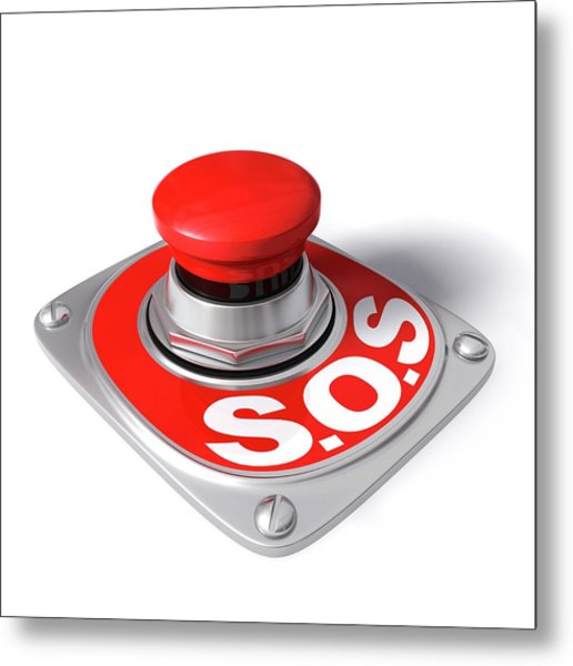 Sos Button Metal Print by Ktsdesign/science Photo Library