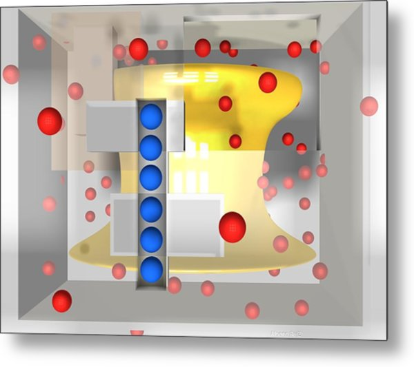 Metal Print featuring the digital art Sounds Reds And Line Of Blue Balls by Alberto  RuiZ