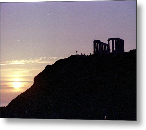 Sounion Greece Sunset Metal Print by Mike McCool