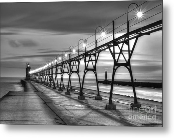 South Haven Light In Black And White Metal Print