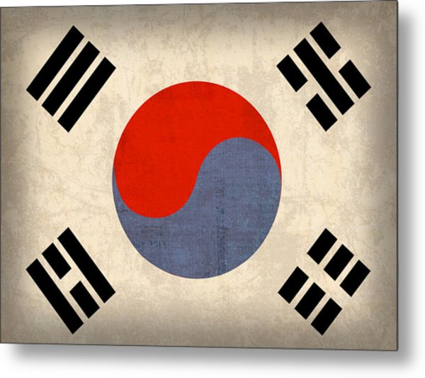 South Korea Flag Vintage Distressed Finish Metal Print