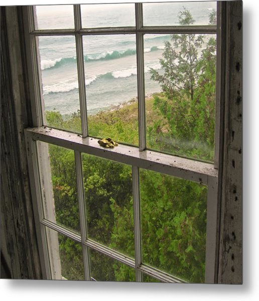Metal Print featuring the photograph South Manitou Island Lighthouse Window by Mary Lee Dereske