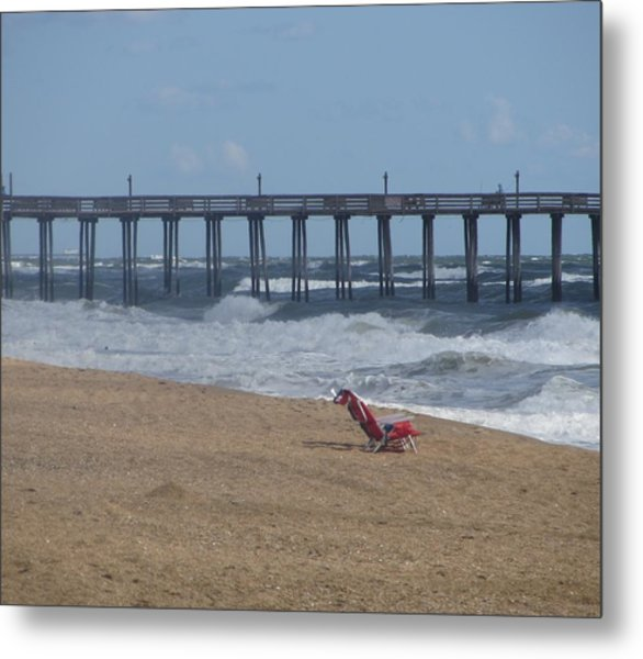 Southern Shores Pier And Chair Metal Print by Cathy Lindsey
