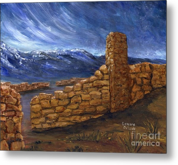 Southwestern Night Landscape Rock Ruins Metal Print