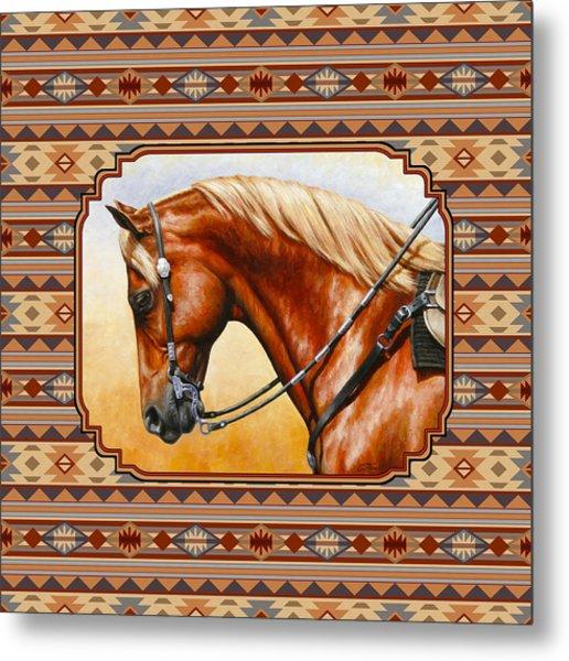 Southwestern Quarter Horse Pillow Metal Print