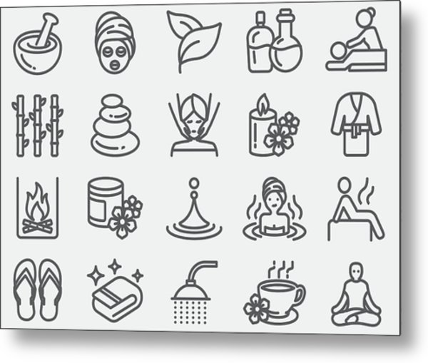 Spa Massage And Wellness Line Icons Metal Print by LueratSatichob
