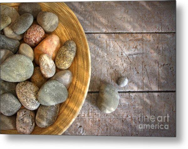 Spa Rocks In Wooden Bowl On Rustic Wood Metal Print
