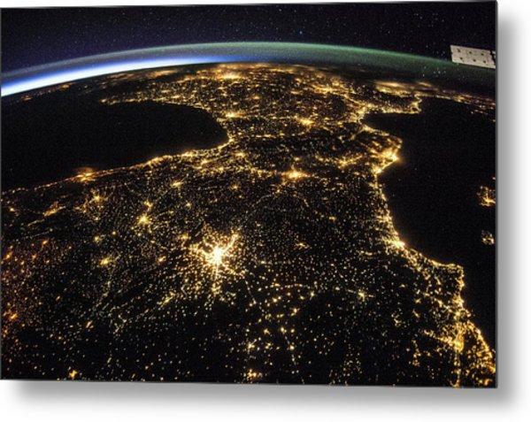 Space And France At Night Metal Print by Nasa