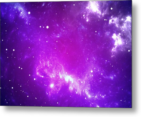 Space Background With Purple Nebula And Stars Metal Print by Peter Jurik