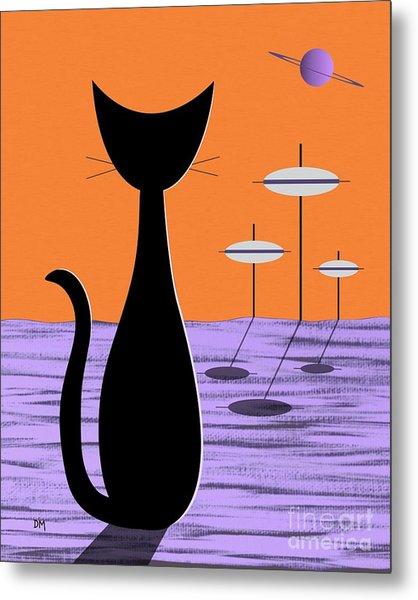 Space Cat Orange Sky Metal Print
