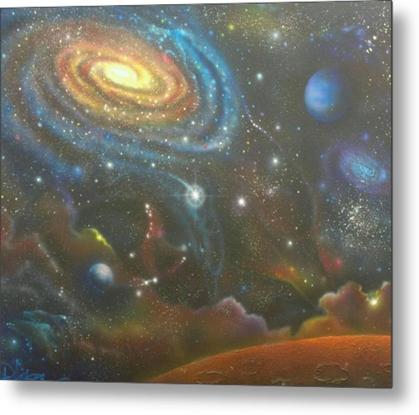Space Dolphins Metal Print