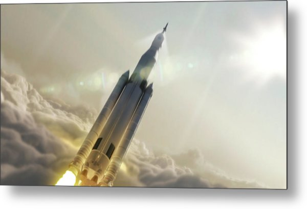 Space Launch System Launch Metal Print by Nasa/msfc