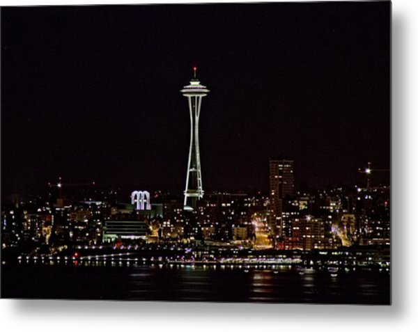 Space Needle At Night Metal Print by Marv Russell
