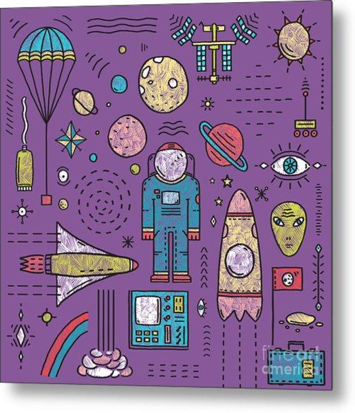 Space Planets Stars Cosmonaut Design Metal Print