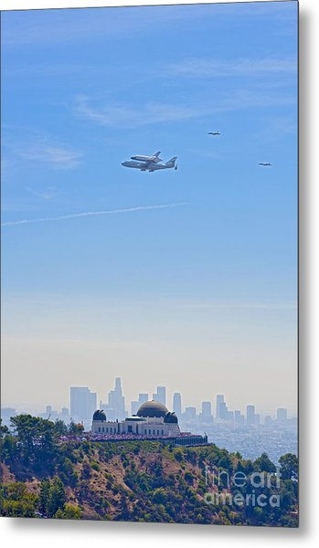Space Shuttle Endeavour And Chase Planes Over The Griffith Observatory Metal Print