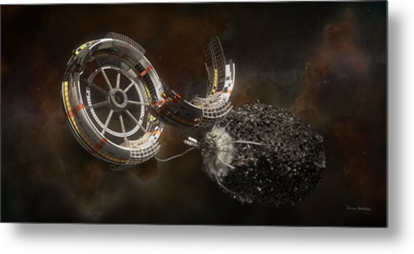 Metal Print featuring the digital art Space Station Construction by Bryan Versteeg