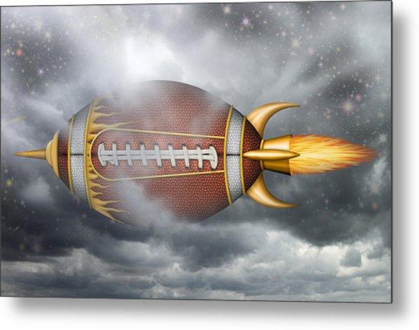 Spaceship Football Metal Print