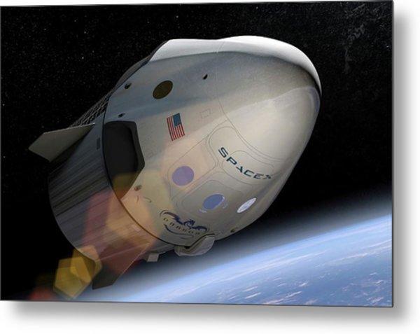 Spacex's Crew Dragon In Orbit Metal Print