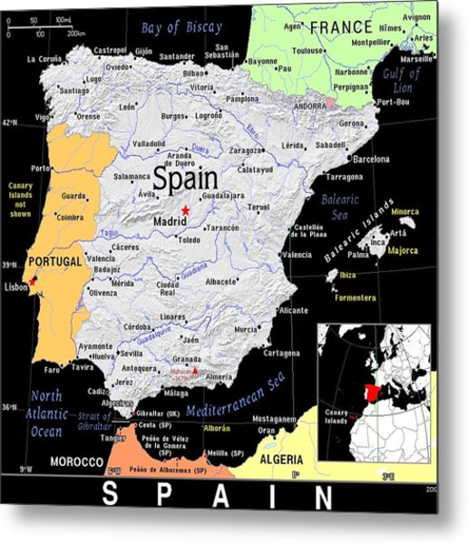 Spain Exotic Map Metal Print