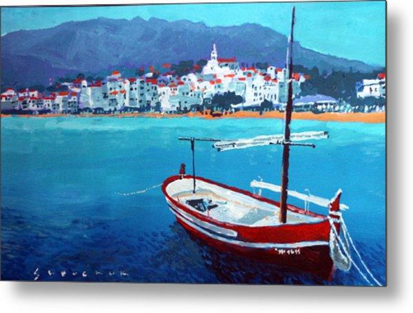 Spain Series 08 Cadaques Red Boat Metal Print