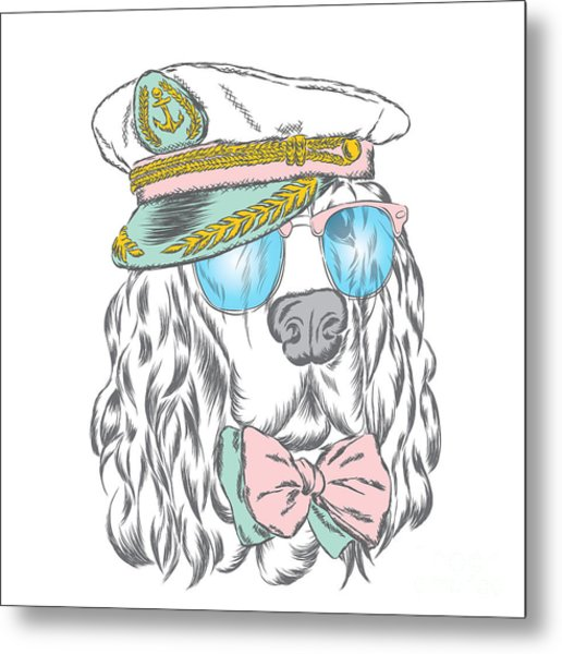 Spaniel In The Captains Cap. Vector Metal Print