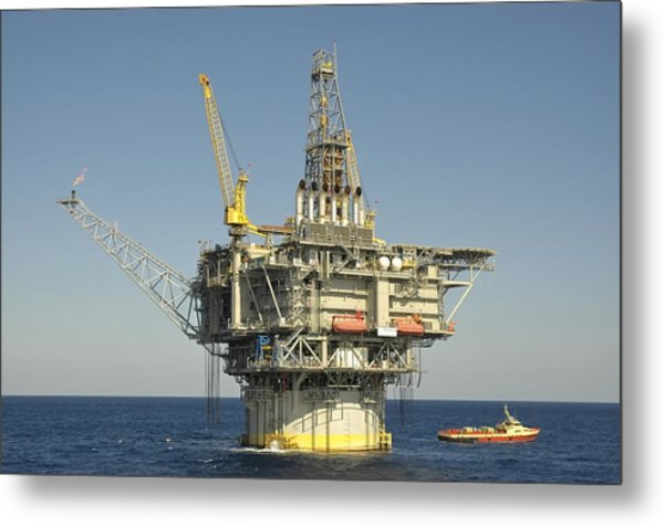 Spar Type Oil Rig With Flare And Boat Metal Print