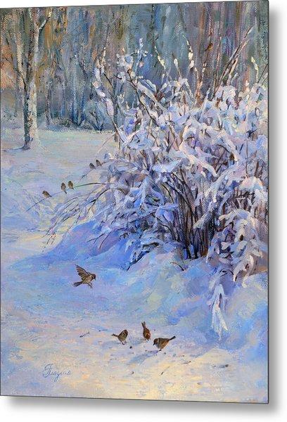 Sparrow On Snow Metal Print
