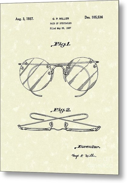 Spectacles 1937 Patent Art Metal Print