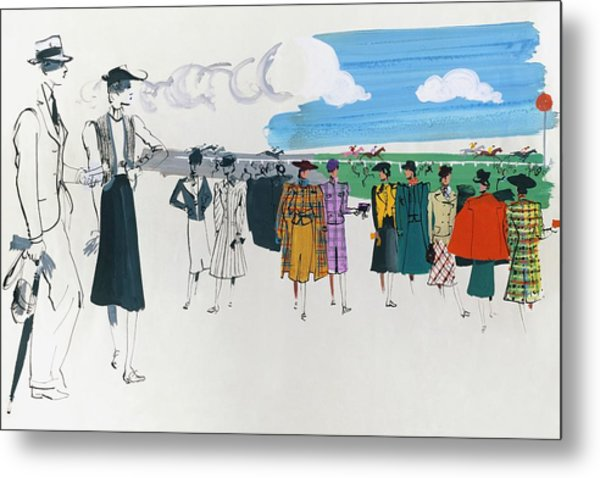 Spectators At A Horse Race Metal Print