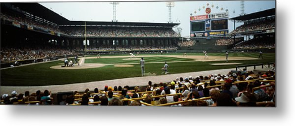 Spectators Watching A Baseball Match Metal Print