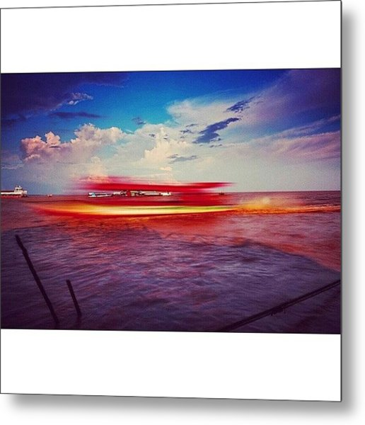 Speed Boat Passing The Floating Village Metal Print