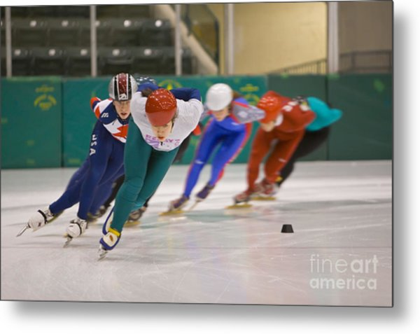 Speed Skaters Metal Print