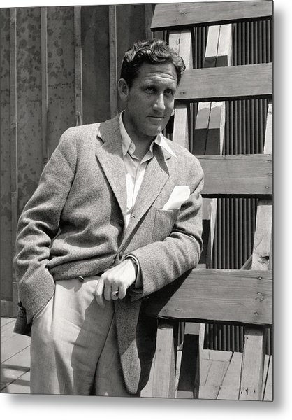 Spencer Tracy Wearing A Tweed Sports Jacket Metal Print