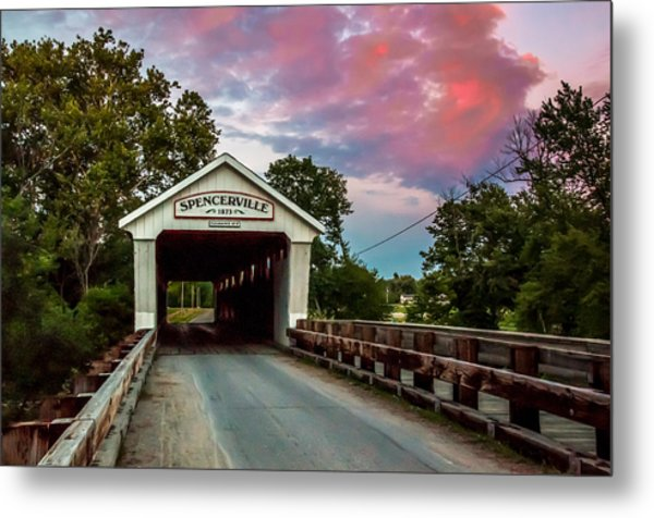 Spencerville Covered Bridge At Sunset Metal Print