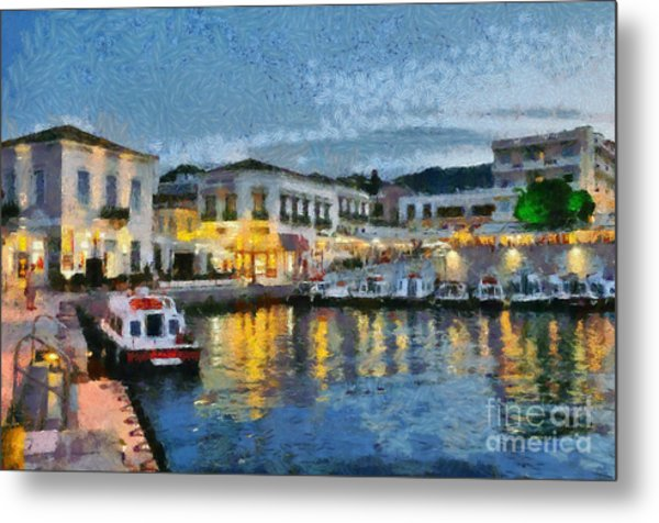 Spetses Town During Dusk Time Metal Print